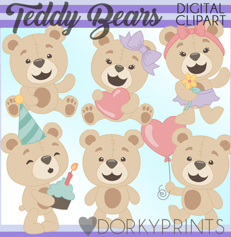 Cute Teddy Bear Animals Clipart