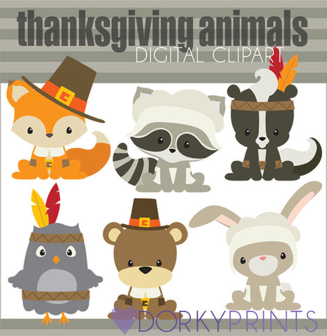 Pilgrim Animals Thanksgiving Clipart