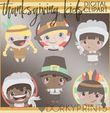 Cute Kid Thanksgiving Clipart