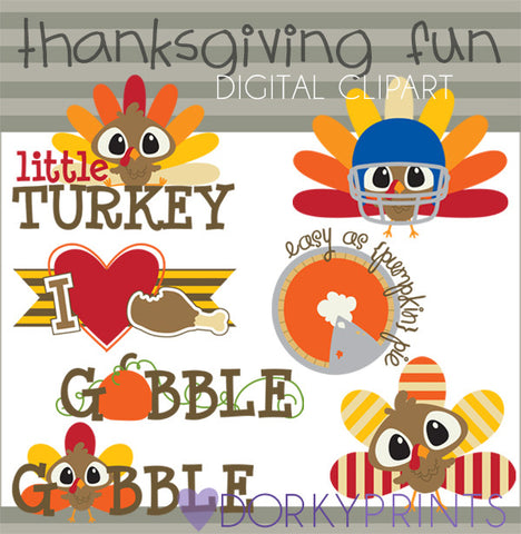 Little Turkey Thanksgiving Clipart