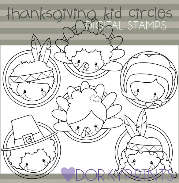 Kids Circles Black Line Thanksgiving Clipart