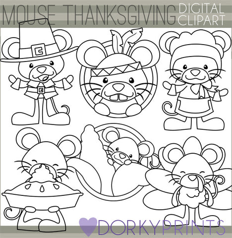 Blackline Mouse Thanksgiving Clipart