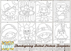 Thanksgiving Pin Hole Art Templates - Fun Learning Printables