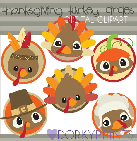 Turkey Circles Thanksgiving Clipart