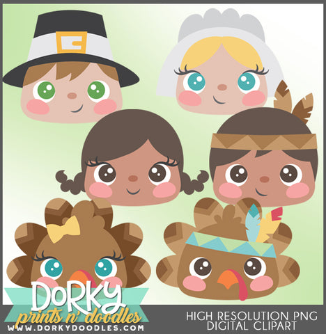 Cute Faces Thanksgiving Clipart