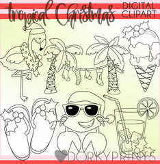 Blackline Tropical Christmas Clipart