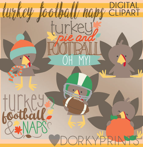 Turkey and Football Thanksgiving Clipart