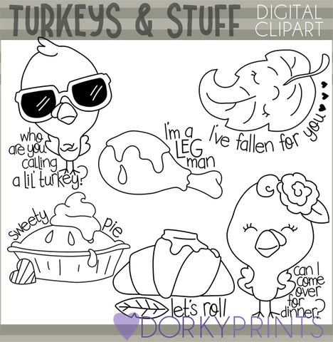 Blackline Snarky Turkeys Thanksgiving Clipart