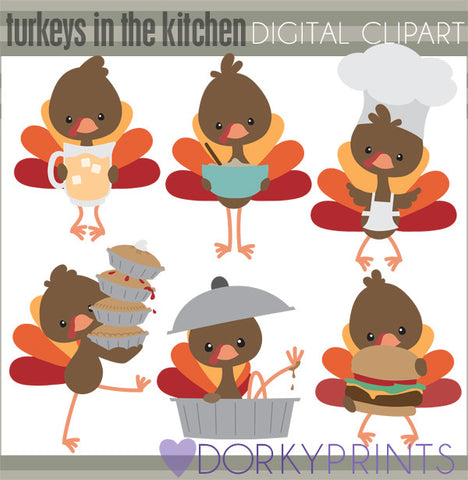 Turkeys in the Kitchen Thanksgiving Clipart