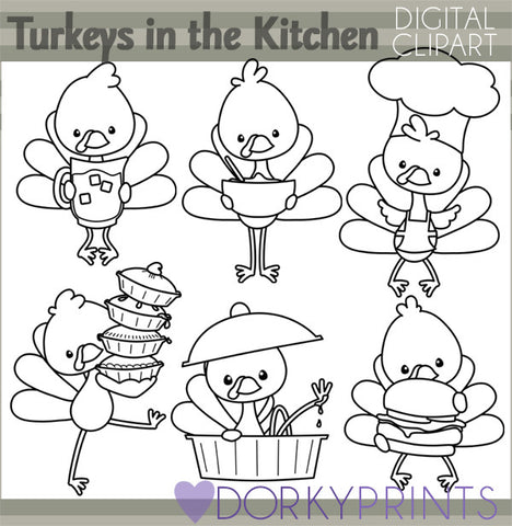 Turkeys in the Kitchen  Black Line Thanksgiving Clipart
