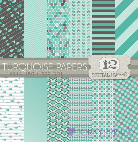 Turquoise Digital Paper Pack
