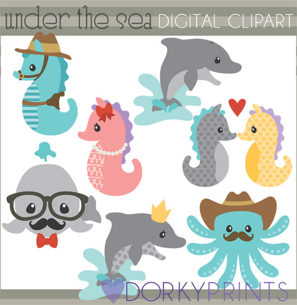 Seahorse and Ocean Creatures Summer Clipart