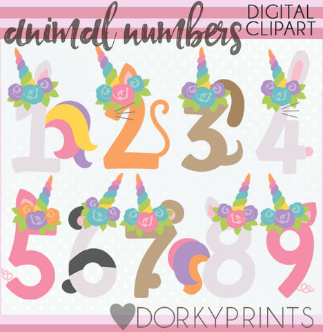 Unicorn Animal Number Symbols Clipart