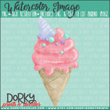 Unicorn Ice Cream Cone Watercolor PNG