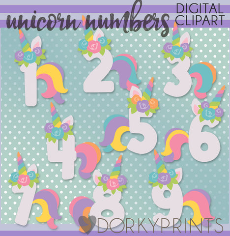 Unicorn Number Symbols Clipart