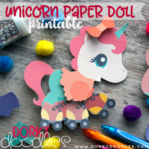 Unicorn Paper Doll Printables