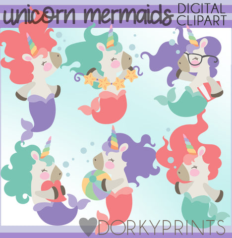 Unicorn Mermaid Summer Clipart