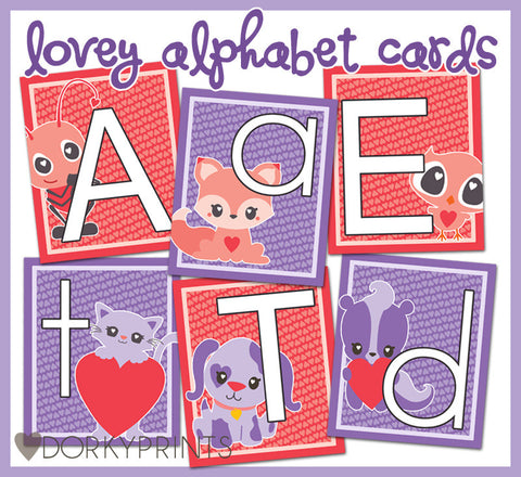 Valentine Alphabet Cards Learning Printables