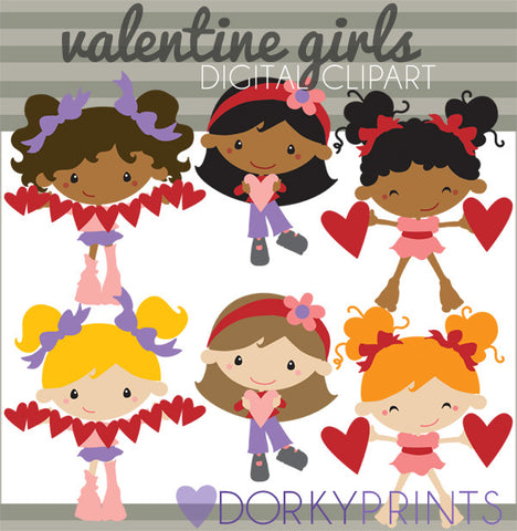 Girls with Hearts Valentine Clipart