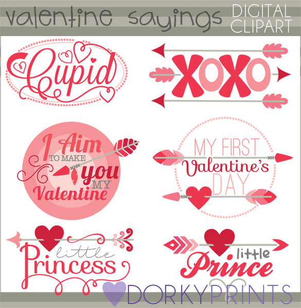 arrow sayings valentine clipart dorky doodles