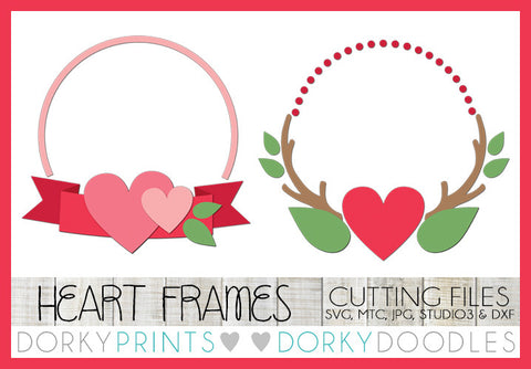Heart Monogram Frames Valentine SVG Cuttable Files