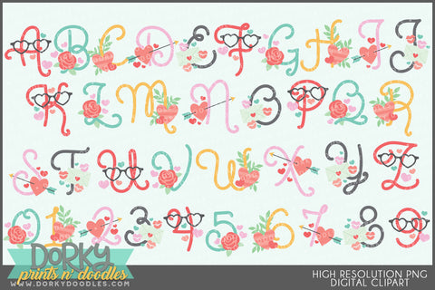 Valentine Font and Symbols Clipart