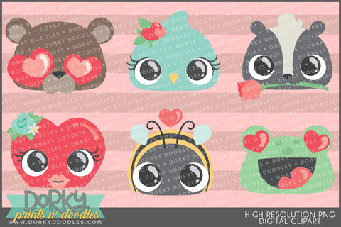 Cute Animal Faces Valentine Clipart