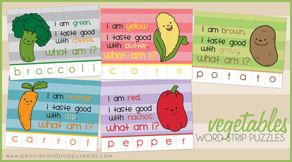 Vegetable Paper Puzzles Learning Printables