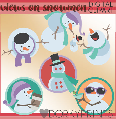 Views of Snowmen Christmas Clipart