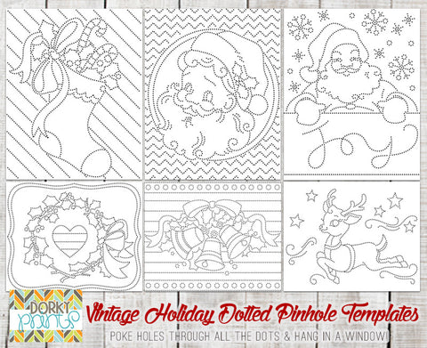 Vintage Holiday Pin Hole Art Templates - Fun Learning Printables