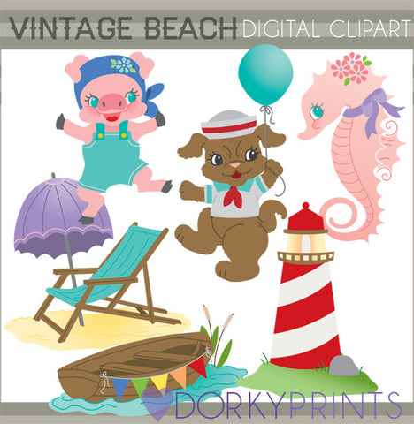 Vintage Beach Summer Clipart