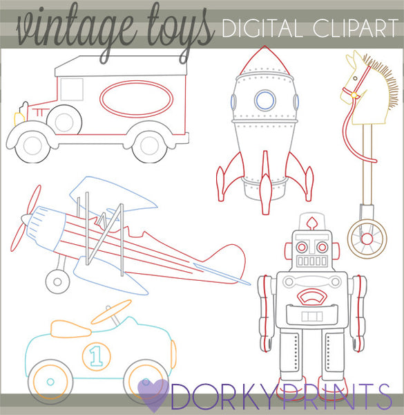 Retro Toys Vintage Fun Clipart
