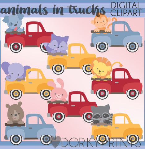 Vintage Trucks and Animals Clipart
