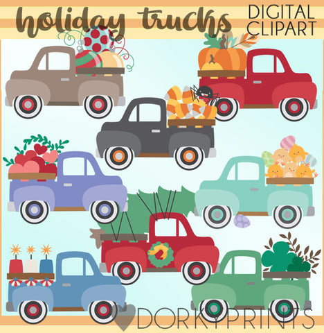 Vintage Truck Holiday Clipart