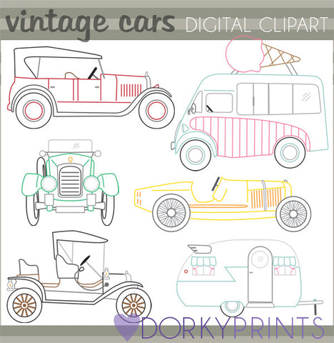 Retro Vehicles Vintage Fun Clipart