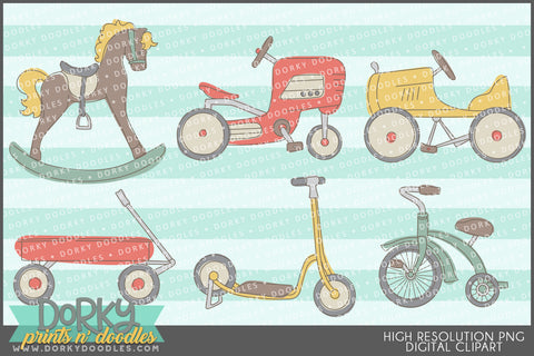 Vintage Ride-On Toys Clipart
