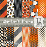 Watercolor Halloween Digital Paper Pack