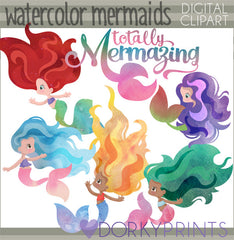 Watercolor Mermaids Summer Clipart