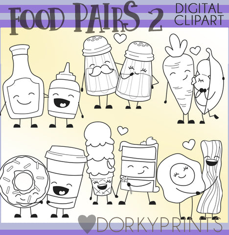 Blackline Food Pairs Valentine Clipart