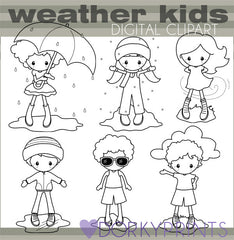 Weather Kids Black Line School Clipart