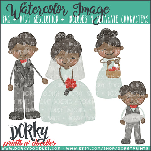 0dfc36665 Wedding Party Characters Watercolor PNG – Dorky Doodles