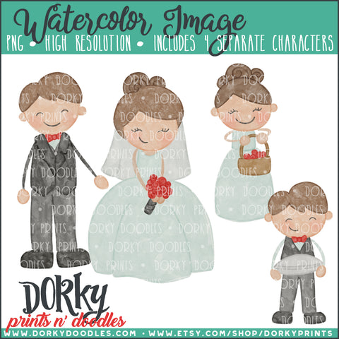 Wedding Party Characters Watercolor PNG