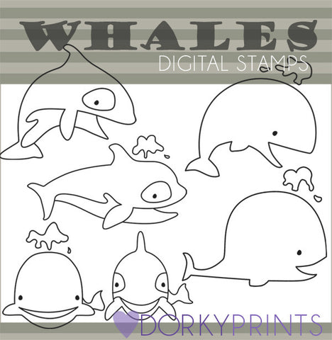 Whales Blackline Summer Clipart
