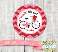 """I Wheelie Like You"" Valentine Circle Tags Holiday Printables"