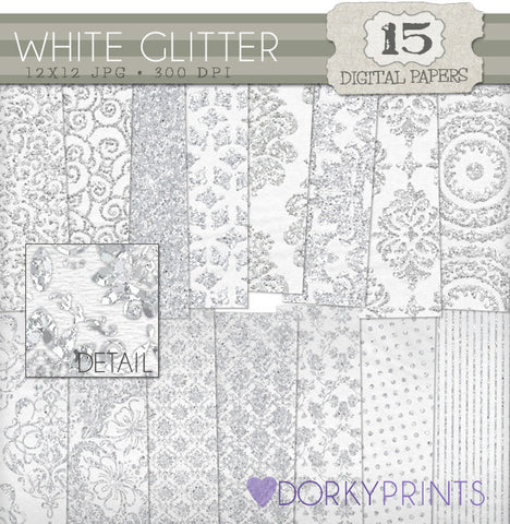 White Glitter Digital Paper Pack
