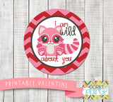 """Wild About You"" Valentine Circle Tags Holiday Printables"