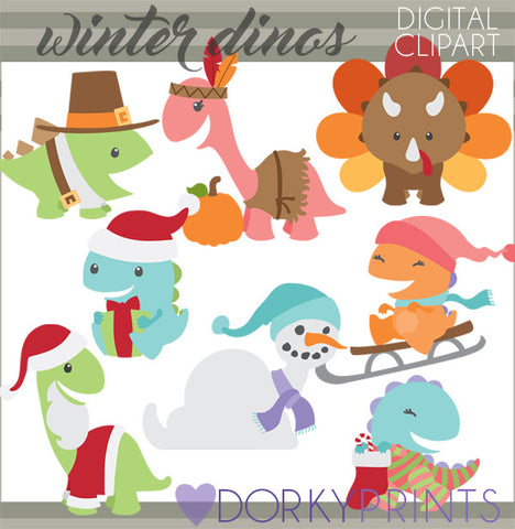Thanksgiving and Christmas Dino Animals Clipart