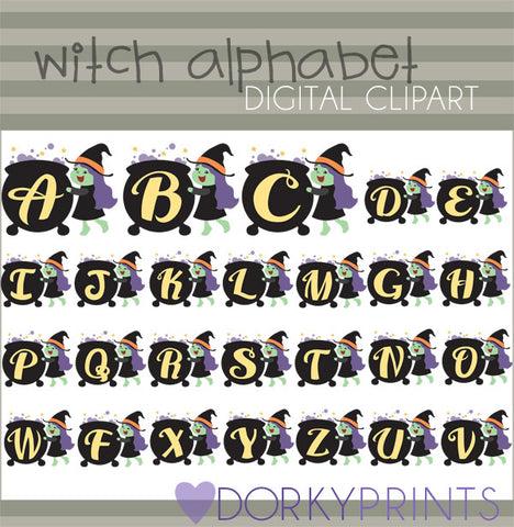Witch Alphabet Symbols Clipart