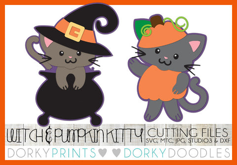 Witch Kitty and Pumpkin Halloween SVG Cuttable Files