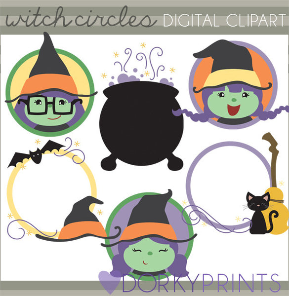 Witch Circles Halloween Clipart